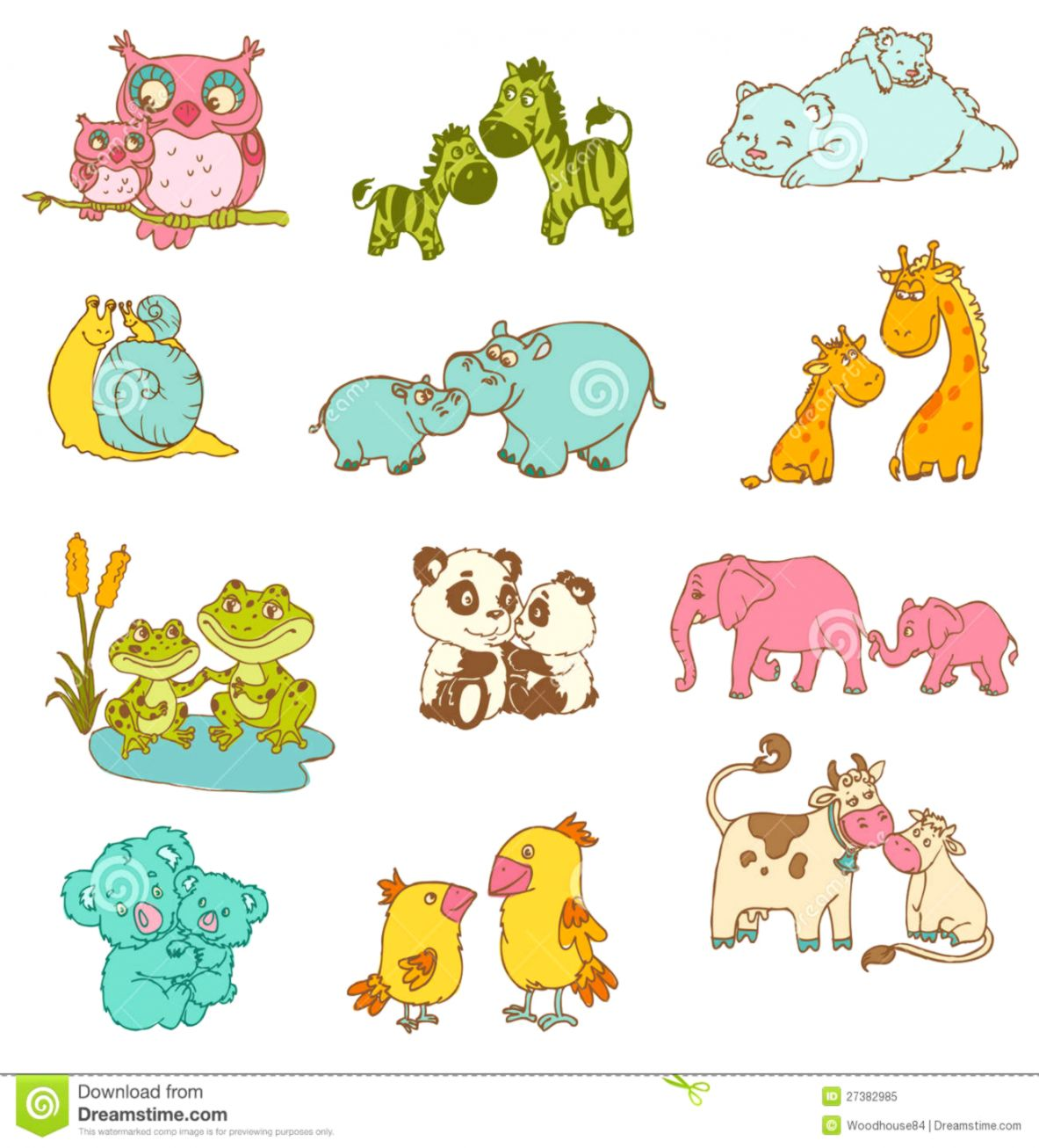 small resolution of baby and mommy animals stock vector illustration of giraffe