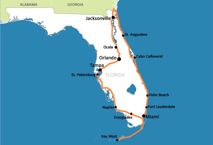 Mapa da Flrida  Dicas da Flrida Orlando e Miami