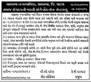 Chanasma Nagarpalika Social Organizer Recruitment 2016