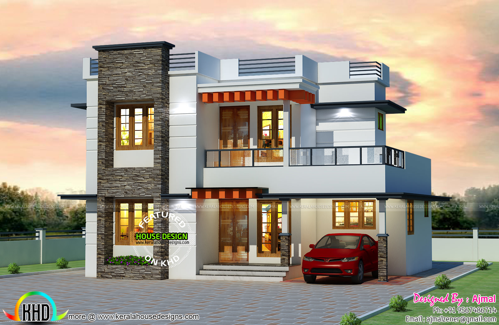 25 lakhs cost estimated kerala home kerala home design for Estimated cost building duplex