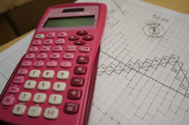 calculator resting on concept sketch of waveform table