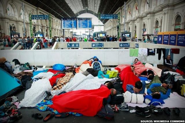 Refugees at Keleti Railway Station, Budapest