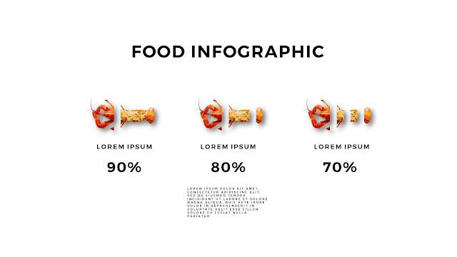 Fried Lobster Food Infographics for Free Powerpoint Template with Sliced Charts