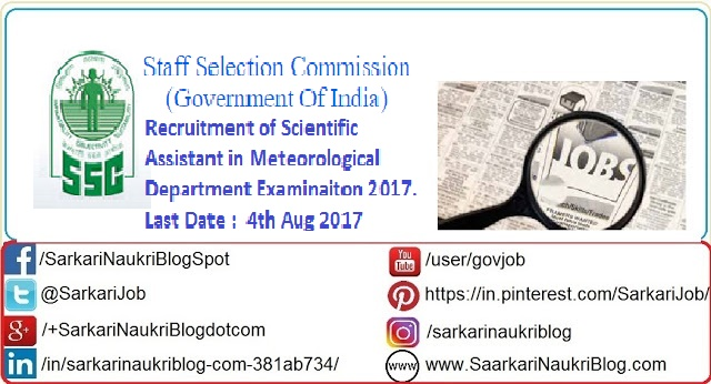 SSC Scientific Assistant Examination Meteorological  Department 2017