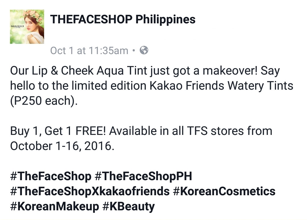 The Faceshop Philippines Buy 1 Get 1 promo