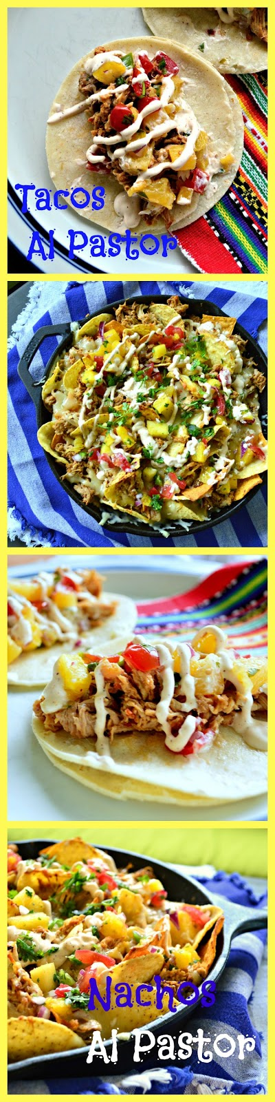 Tacos and Nachos al Pastor are made with pork and a marinade of seasonings and pineapple. So good serves on tacos or nachos. Perfect with a pineapple salsa and a chipotle drizzle. #nachos #tacos #MexicanFood www.thisishowicook.com