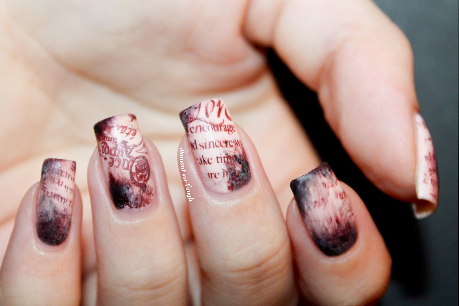 Old book page's nail art