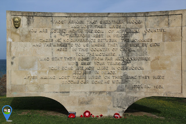 Memorial at Anzac Cove with touching message from Mustafa Kemal Ataturk in 1934 at Gallipoli, Turkey