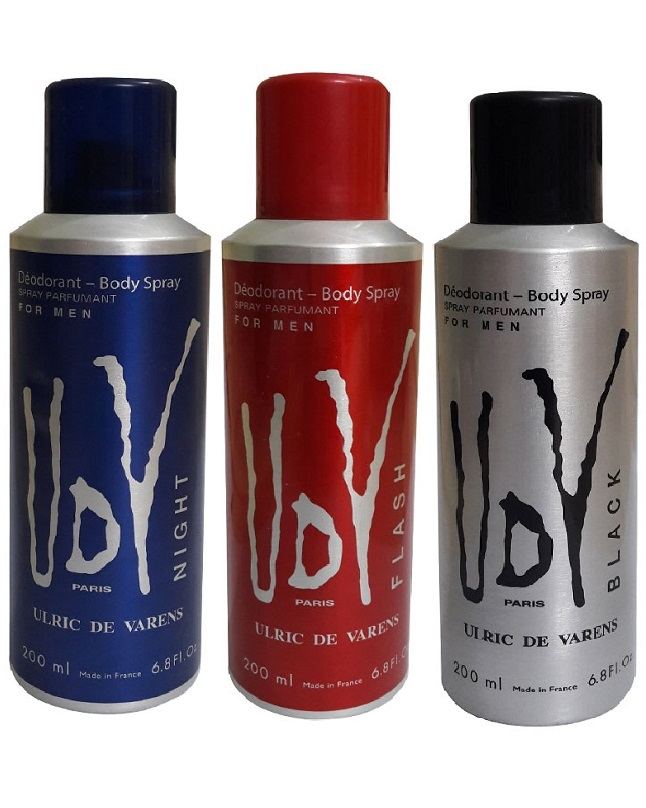Pack Of 3 - UDV Night And Black And Flash Body Spray 200 ml