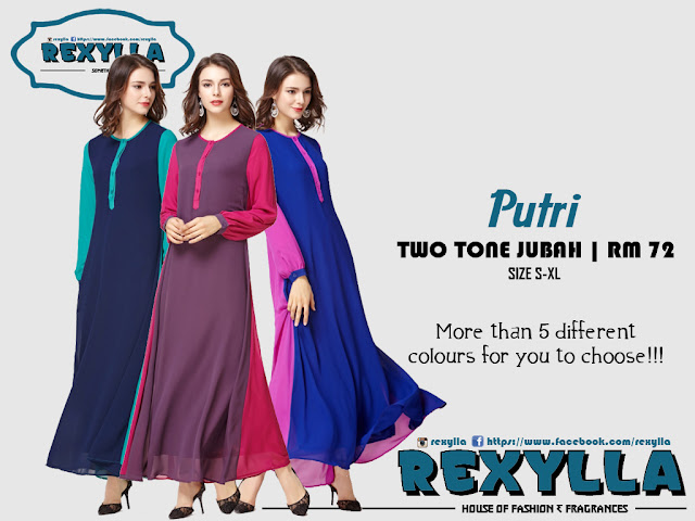 rexylla, two tone jubah, putri collection