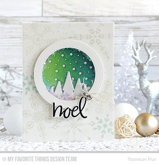 Handmade card from Yoonsun Hur featuring Hand-Lettered Christmas and Simply Snowflakes stamp sets, Starry Circle, Chill Wishes, and Stitched Circle Frames Die-namics #mftstamps