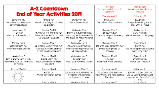 Countdown to summer: ABC Countdown activities for school.