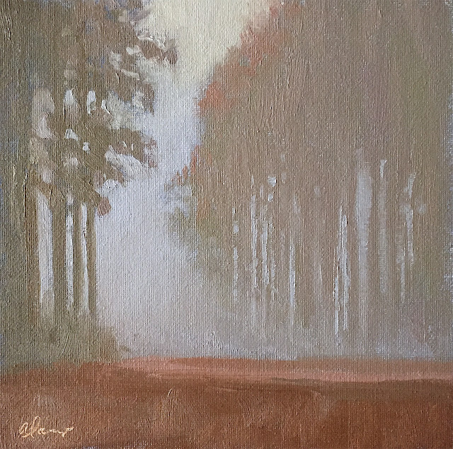 Winter Fog landscape painting Apr 17 2019