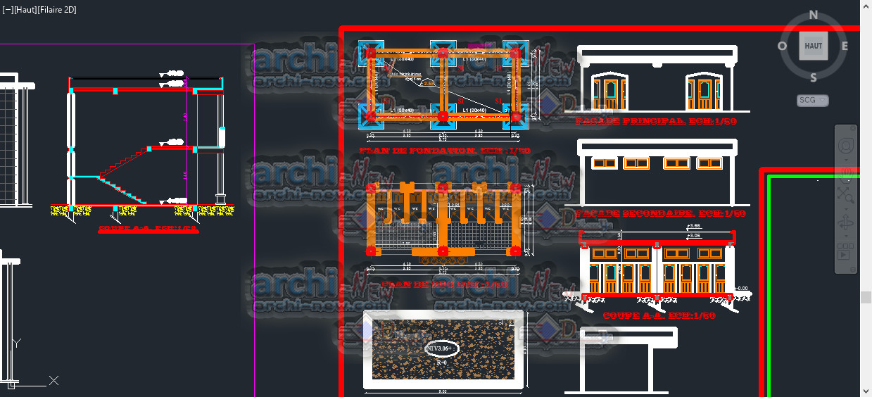 Compound Wall Design Autocad : School compound for educating children dwg cad archi new
