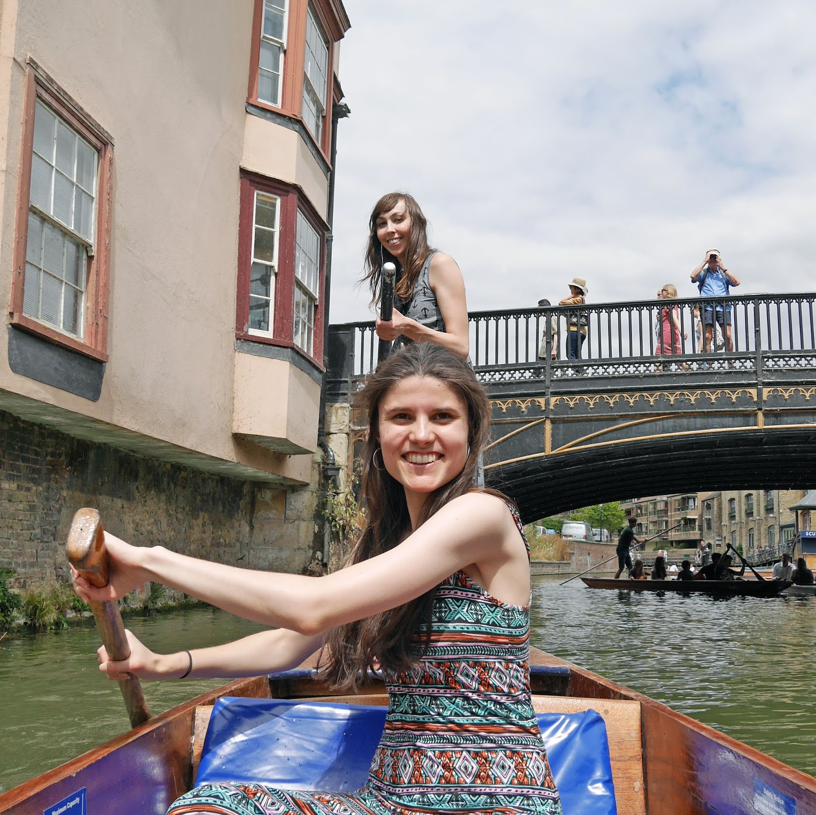 Kat and Kirsten punting on the River Cam
