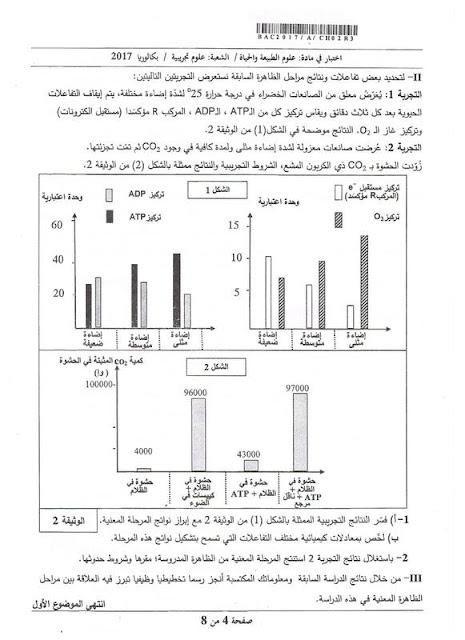 موضوع بكالوريا العلوم الطبيعية لشعة العلوم التجريبية 2017