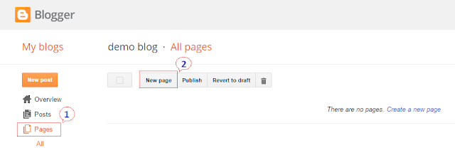 After visiting blogger dashboard, go to Pages and then click on New Page button to add a new page there