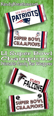 Get ready for your Super Bowl party with these printable candy bar wrappers. Whether your cheering on the New England Patriots or the Atlanta Falcons these party favors are perfect to make you the super fan at the big game.