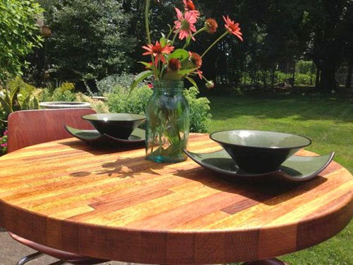 DIY butcher block ideas pictures: Round butcher block dining table