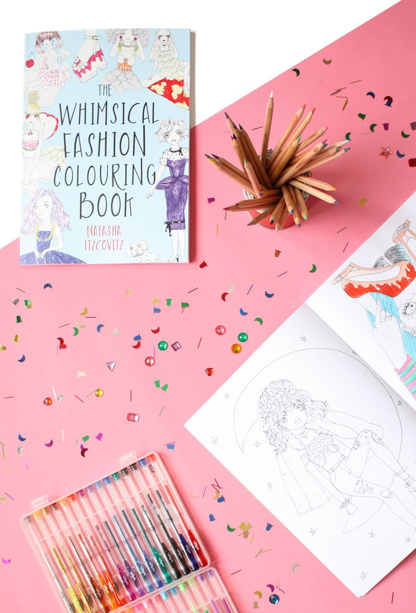 the whimsical fashion colouring book by natasha itzcovitz