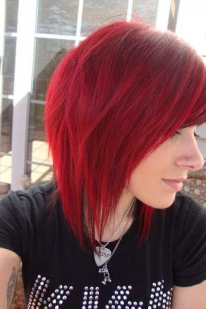 adorable bob haircuts in red colors