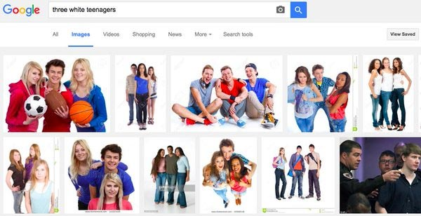 "This is what happens when you google ""three black teenagers"" vs googling ""three white teenagers"""