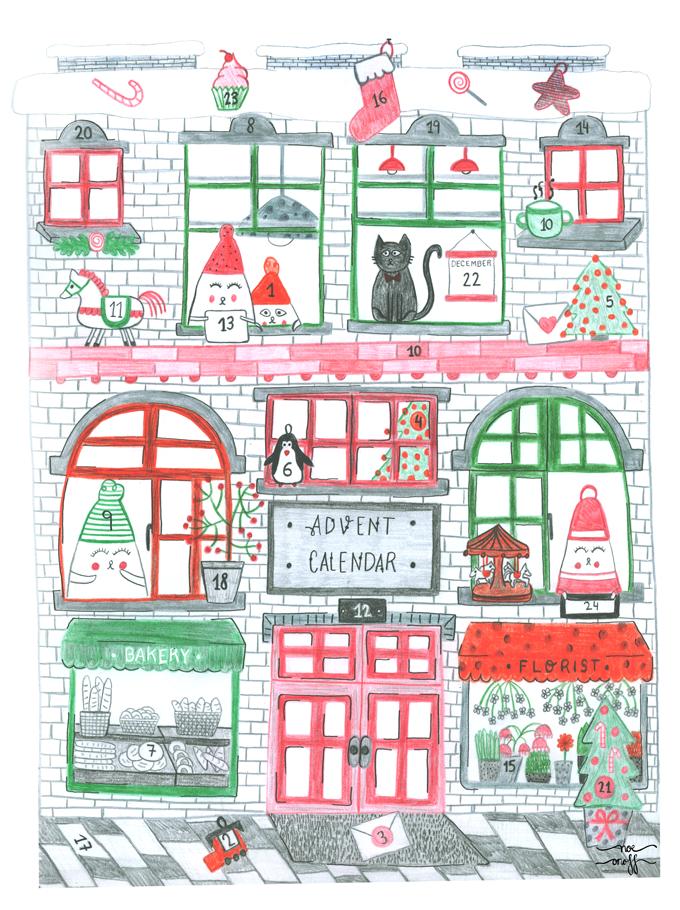 Calendario Adviento ilustrado Noe Onoff