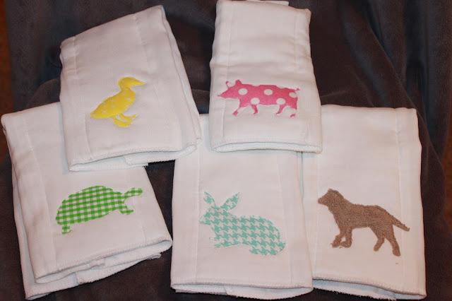 DIY burp cloths, baby gift idea