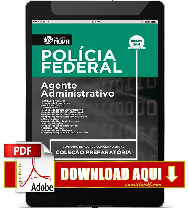 Apostila Polícia Federal 2016 PDF Download Agente Administrativo