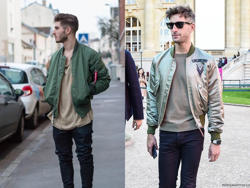 look masculino com Jaqueta bomber Verde