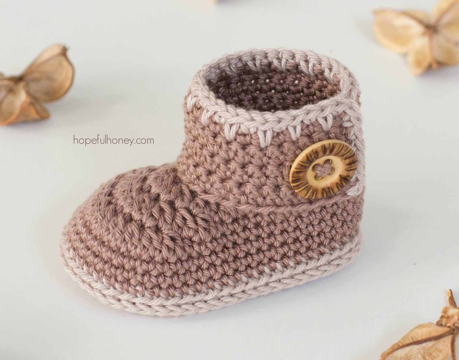 Crochet Baby Ankle Booties Free Pattern : Cocoa Baby Ankle Booties - Free Crochet Pattern Hopeful ...
