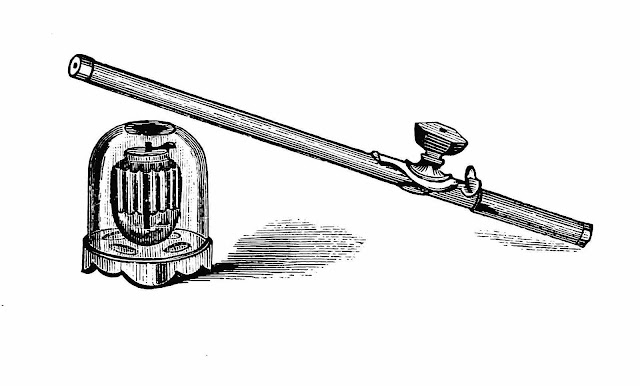 An illustration of 1890 opium paraphernalia: a lamp and a pipe