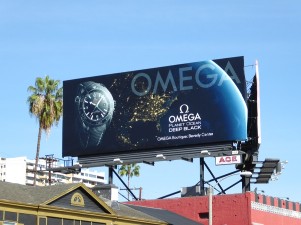 Omega Planet Ocean Deep Black watch billboard
