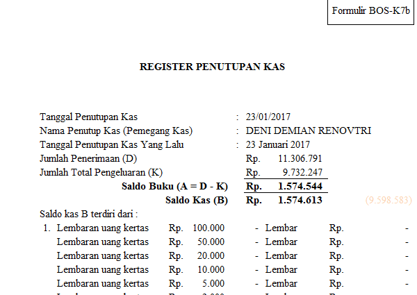 Format Laporan BOS (Bantuan Operasional Sekolah) Lengkap