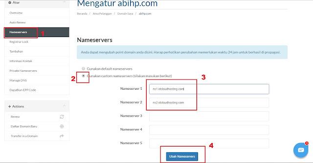 Masukkan nameserver baru lalu klik ubah.