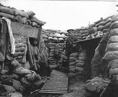 The trenches in the area of Bois Grenier had to be built up as the water table was so high. [from 'The Tyneside Irish', by John Sheen]