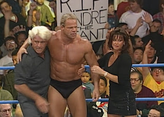 WCW Spring Stampede 2000 - Lex Luger & Ric Flair (w/ Elizabeth) faced Shane Douglas and Buff Bagwell