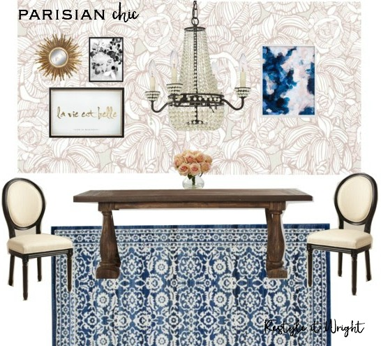 dining room mood board with atg stores wallpaper, world market chairs and dining table, minted art, and gold dot and boe mirror, and lamps plus chandelier