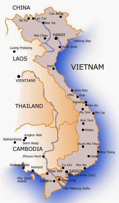 แผนที่เวียดนาม ภาพจาก: www.vietnam-travel-guide.net