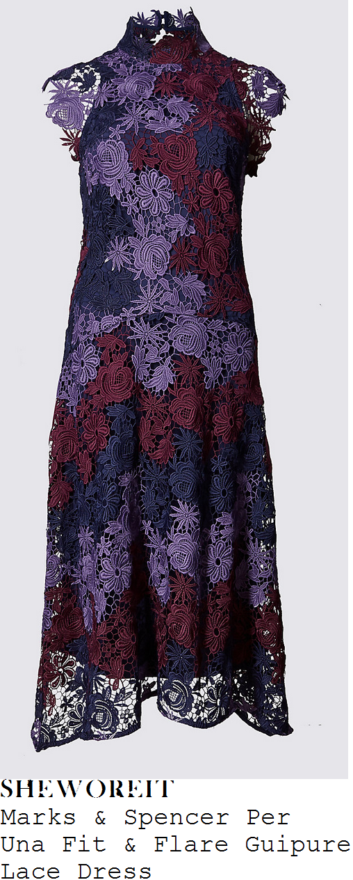 helen-skelton-marks-and-spencer-per-una-lilac-plum-purple-and-midnight-navy-blue-sheer-floral-guipure-lace-overlay-cap-sleeve-high-neck-asymmetric-fit-and-flare-midi-dress