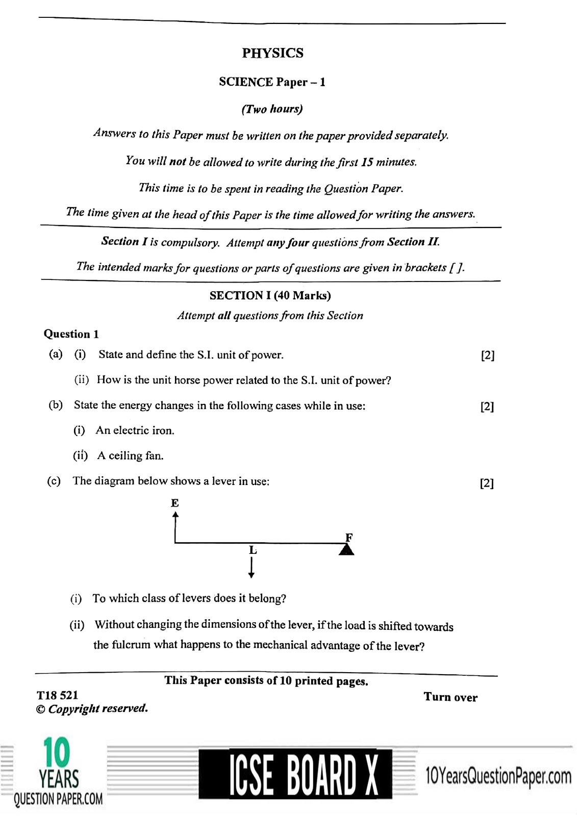 ICSE Board 2018 class 10th Physics question paper Download page-01