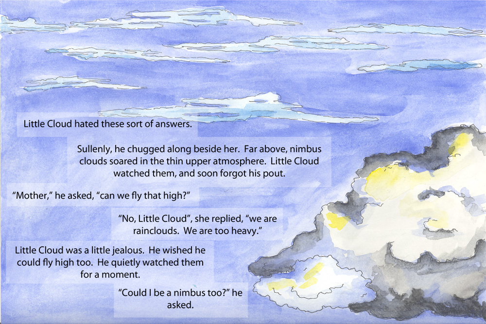 Sample Page From Clouds Tale A Childrens Book Completed In My Sophomore Year At UNO Illustrations Were Watercolor With Text Inserted Using Photoshop