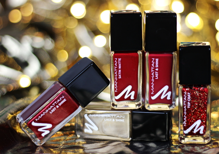 Manhattan Glam Red Last & Finish Nail Polish Christmas Edition