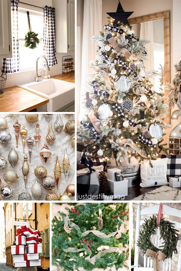 gingham tree ribbon / curtains / metallic ornaments / red bows / tree with  red berries / wreath - Our Gingham Christmas Tree Inspiration - Michaela Noelle Designs