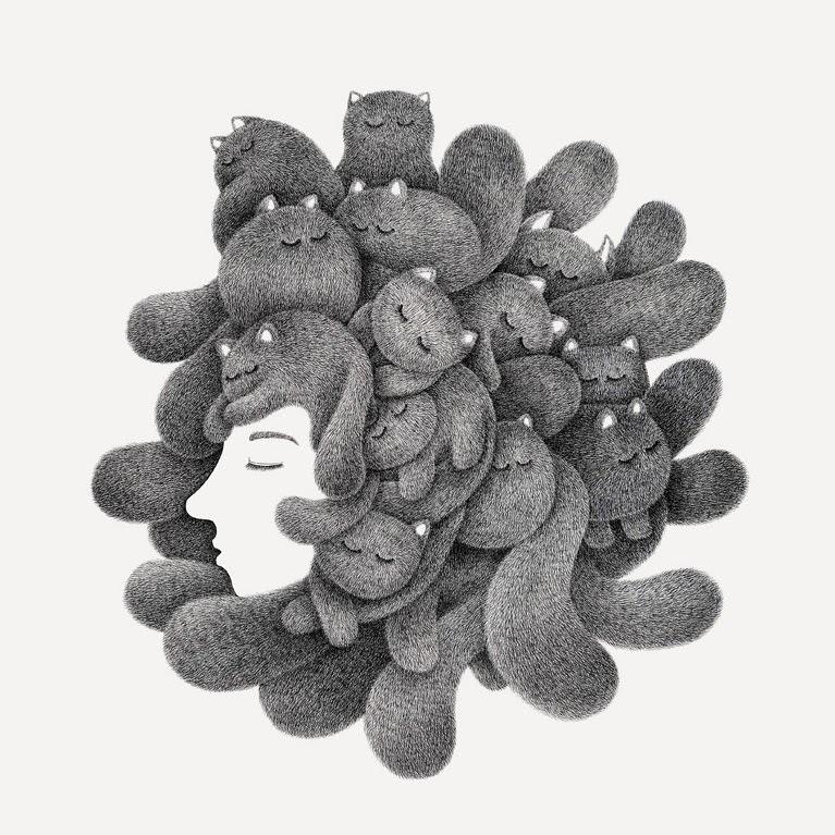 03-Dreams-Kamwei-Fong-14-Furry-Cats-and-1-Furry-Monkey-Drawings-www-designstack-co