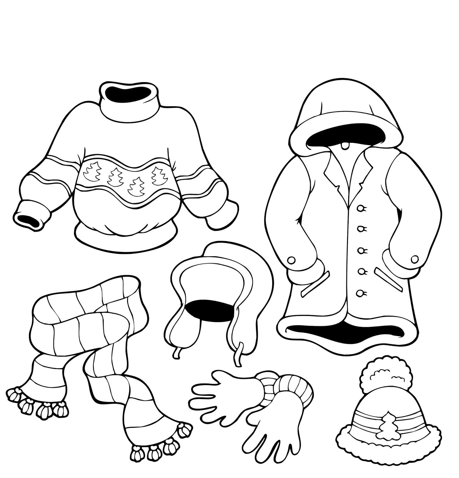 Page de coloriage grand format  imprimer vªtements d hiver pull manteau avec capuche écharpe bonnet gants