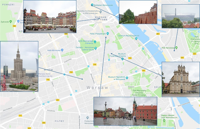 Map with sights to see while in Warsaw, with just small amount of time.
