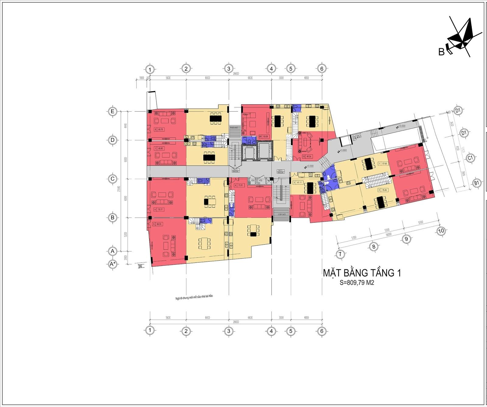 Mặt bằng điển hình tầng 1 dự án Núi Trúc Square