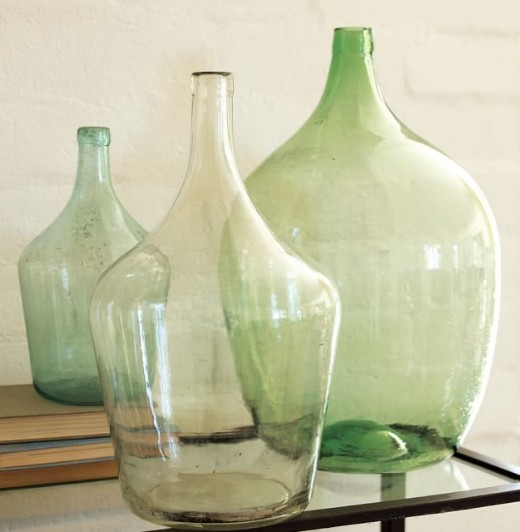 Large Green Demijohn Bottles