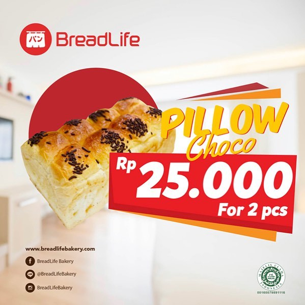 BreadLife - Promo Pillow Choco 2 PC Cuma 25 Ribu (s.d 16 Nov 2018)